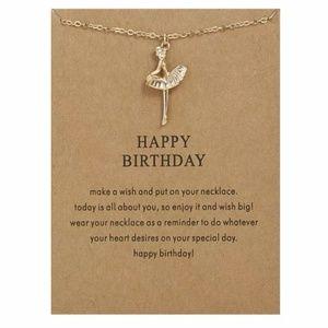Happy Birthday Ballerina Girl Necklace Gift